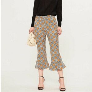 TOPSHOP ruffle/bell bottom cropped pants